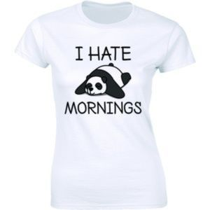I Hate Mornings Cute Funny Lazy Panda Bear T-shirt